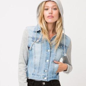 Denim Jacket with Sweatshirt Sleeves and Hood